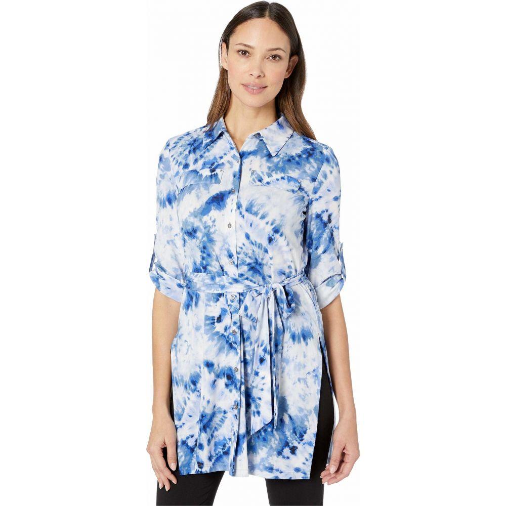 カルバンクライン Calvin Klein レディース チュニック トップス【Printed Roll Sleeve Tunic】Soft White Combo