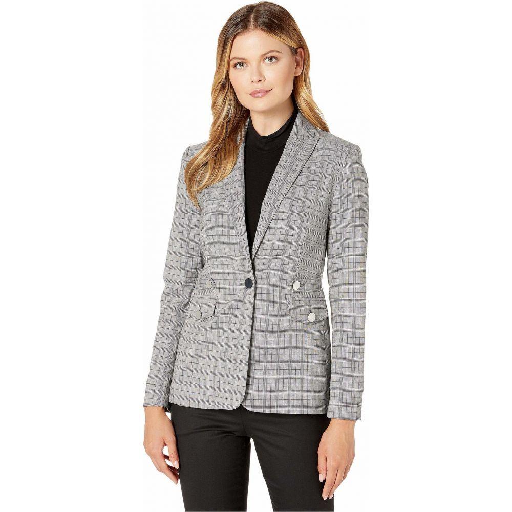 カルバンクライン Calvin Klein レディース スーツ・ジャケット アウター【Plaid Blazer with Tabs and Pockets】Light Grey Glen Plaid