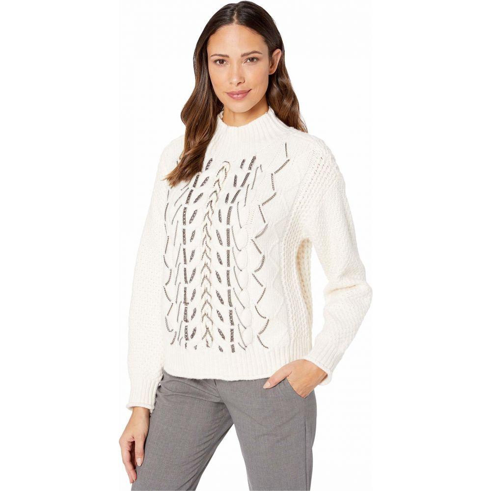 ヴィンス カムート Vince Camuto レディース ニット・セーター トップス【Chain Trim Cable Stitch Mock Neck Sweater】Antique White