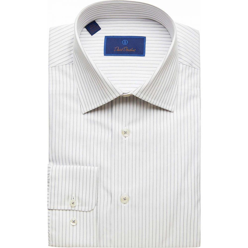 デビッドドナヒュー David Donahue メンズ シャツ トップス【Regular Fit Striped Dress Shirt】White/Gray
