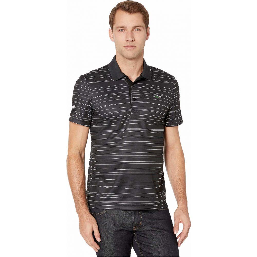 ラコステ Lacoste メンズ ポロシャツ 半袖 トップス【Short Sleeve All Over Print Striped Polo】Black/White/White