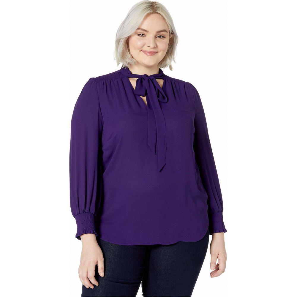 ラルフ ローレン LAUREN Ralph Lauren レディース ブラウス・シャツ 大きいサイズ トップス【Plus Size Tie Neck Georgette Top】Royal Purple