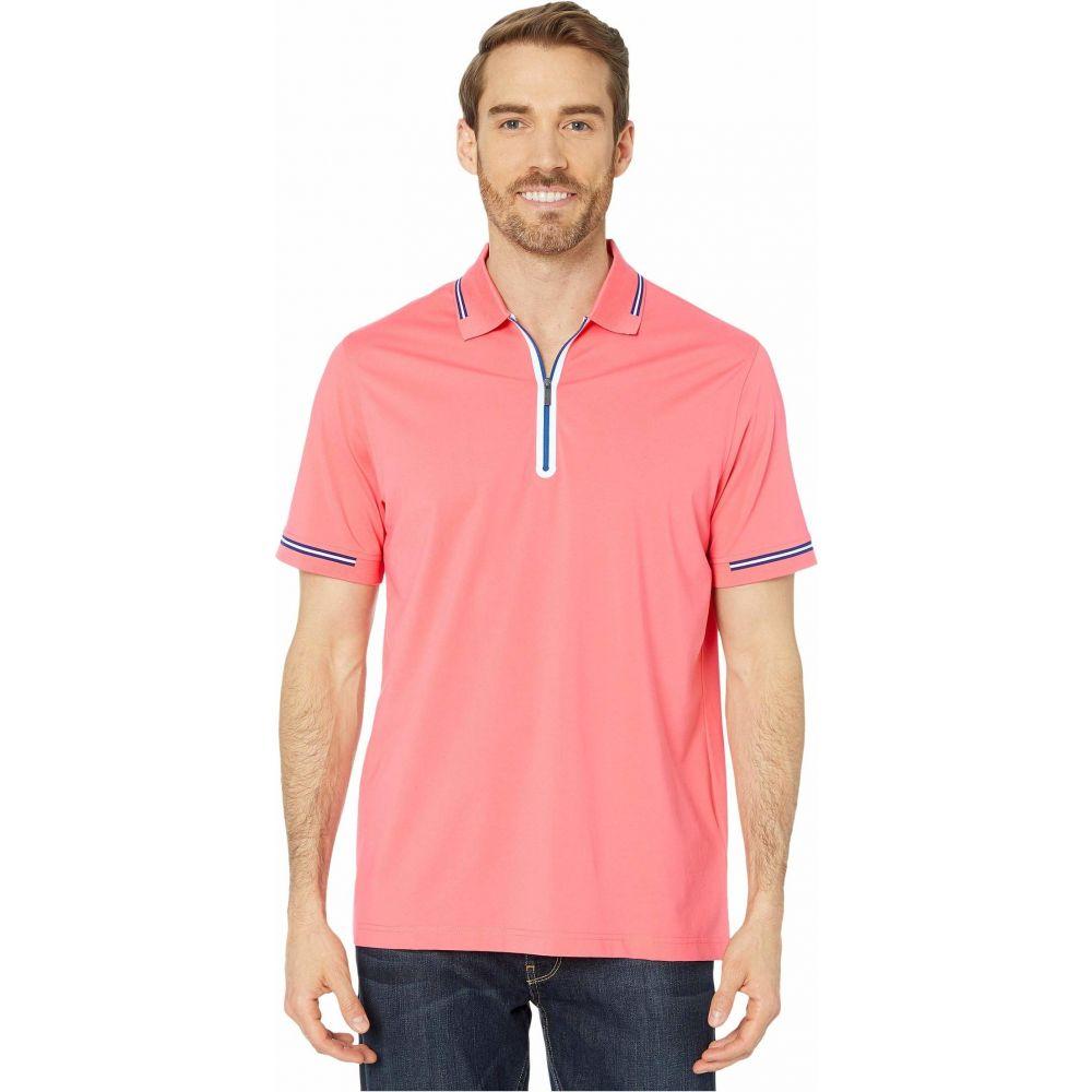 ブガッチ BUGATCHI メンズ ポロシャツ ハーフジップ 半袖 トップス【Gastone Short Sleeve Knit 1/2 Zip Polo】Coral