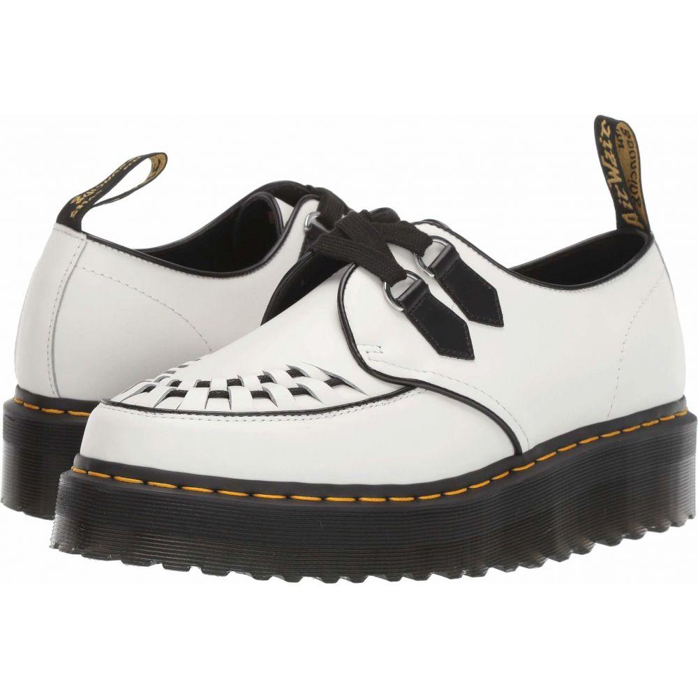 ドクターマーチン Dr. Martens レディース ローファー・オックスフォード シューズ・靴【Sidney Quad Creepers】White/Black Polished Smooth