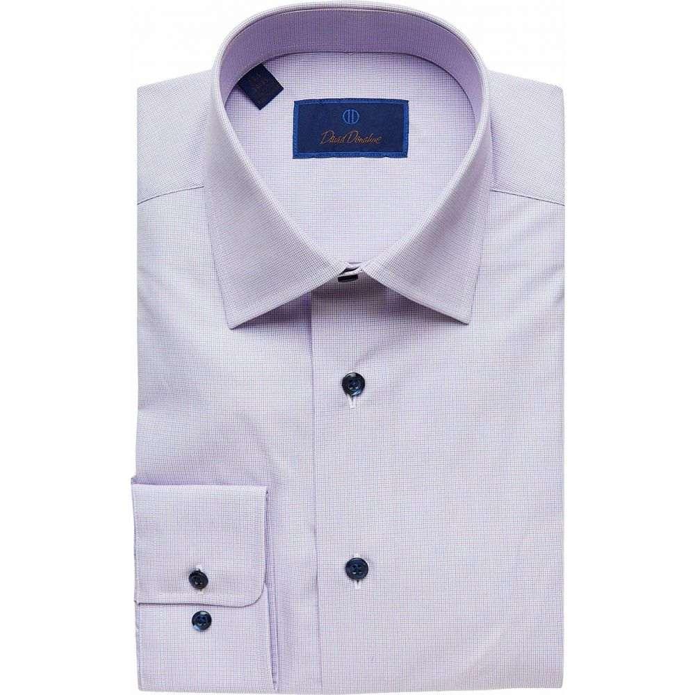 デビッドドナヒュー David Donahue メンズ シャツ トップス【Regular Fit Long Sleeve Micro-Plaid Dress Shirt】Berry