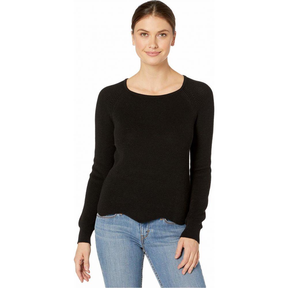 リラピー Lilla P レディース ニット・セーター ラグラン トップス【Cotton Modal Scalloped Hem Raglan Sweater】Black