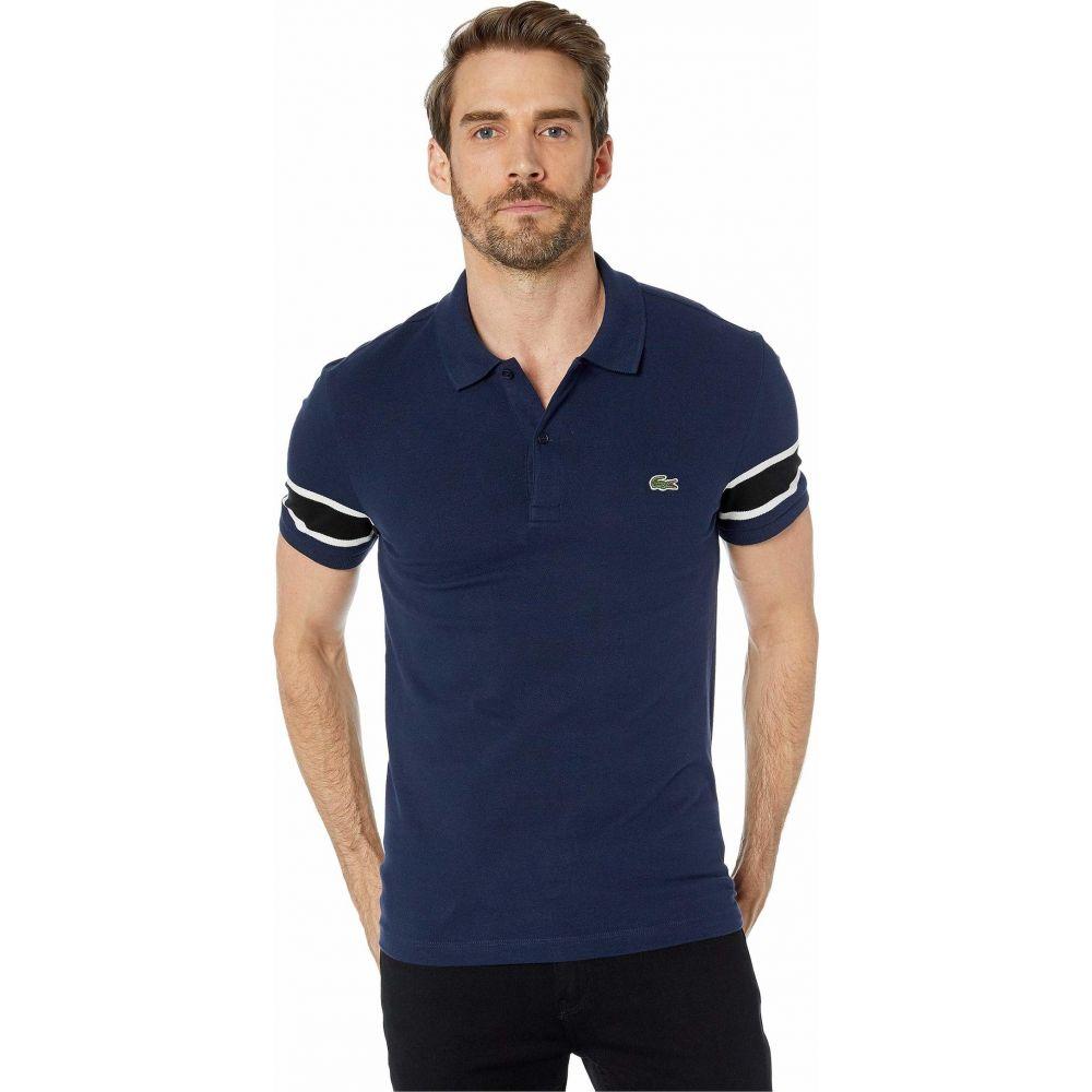 ラコステ Lacoste メンズ ポロシャツ 半袖 トップス【Short Sleeve Stretch Pique Semi-Fancy Polo Slim】Navy Blue/Flour/Black