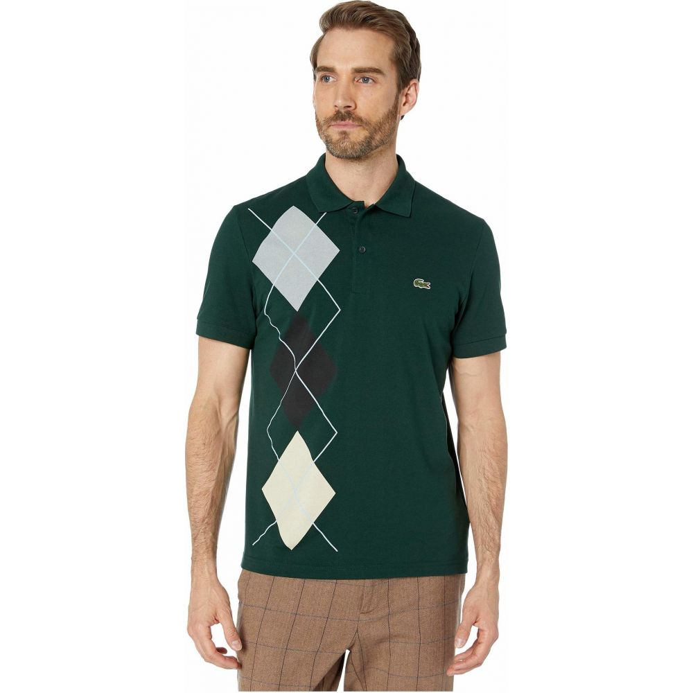 ラコステ Lacoste メンズ ポロシャツ 半袖 トップス【Short Sleeve Mini Pique Argyle Regular Polo】Sinople