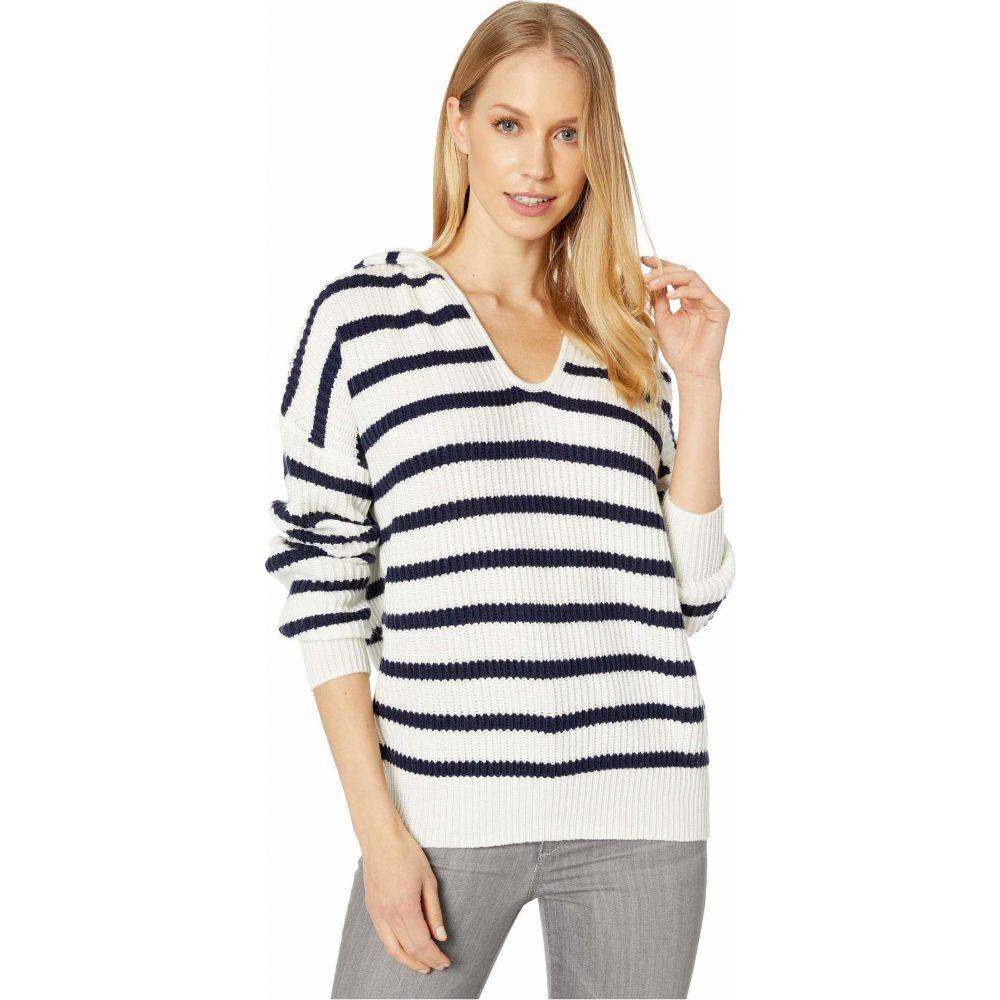 スプレンディッド Splendid レディース ニット・セーター トップス【Striped Sweater Hoodie】Navy/Natural