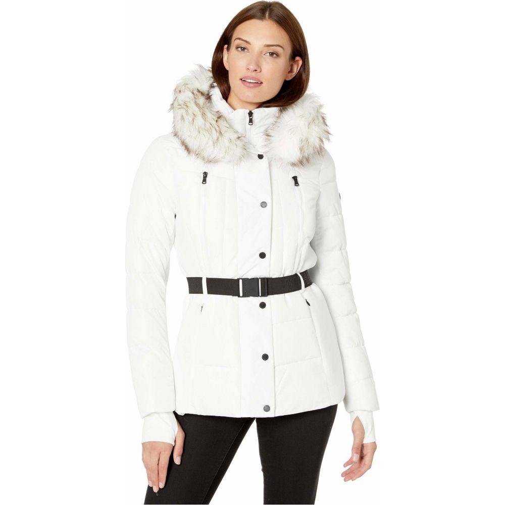 マイケル コース MICHAEL Michael Kors レディース ダウン・中綿ジャケット アウター【Active Jacket with Logo Belt and Hood A420380TZ】White