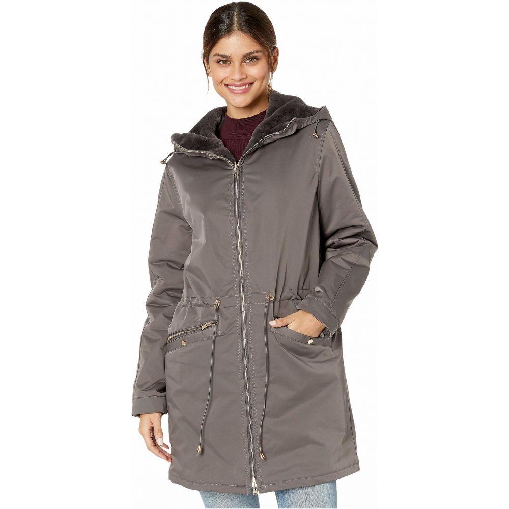 ラブトークン Love Token レディース ジャケット フード アウター【Tayna Faux Fur Reversible Hooded Jacket】Grey