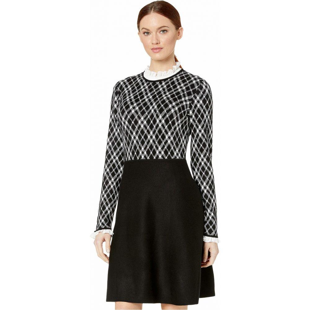 シーシー CeCe レディース ワンピース ワンピース・ドレス【Long Sleeve Jacquard Sweater Dress with Ruffle】Rich Black