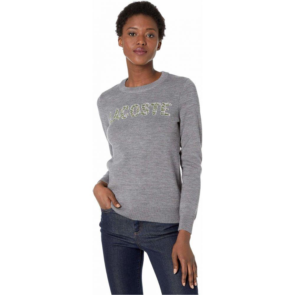 ラコステ Lacoste レディース ニット・セーター トップス【Long Sleeve Interlock Wool All Over Croc Logo Sweater】Stone Chine