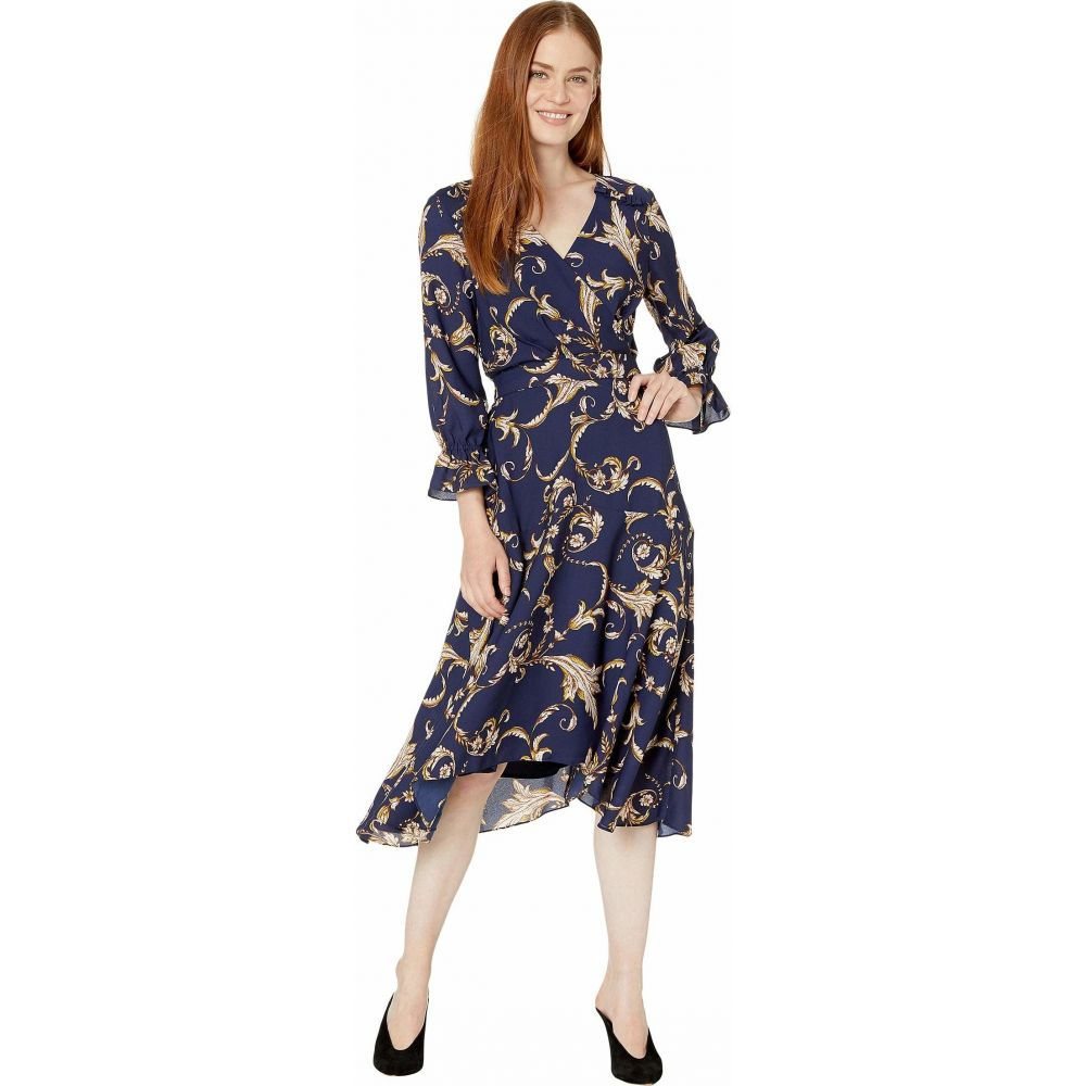 タハリ Tahari by ASL レディース ワンピース ワンピース・ドレス【Long Sleeve Printed Crepe Status Print Dress w/ Uneven Hemline】Navy/Beige/Floral