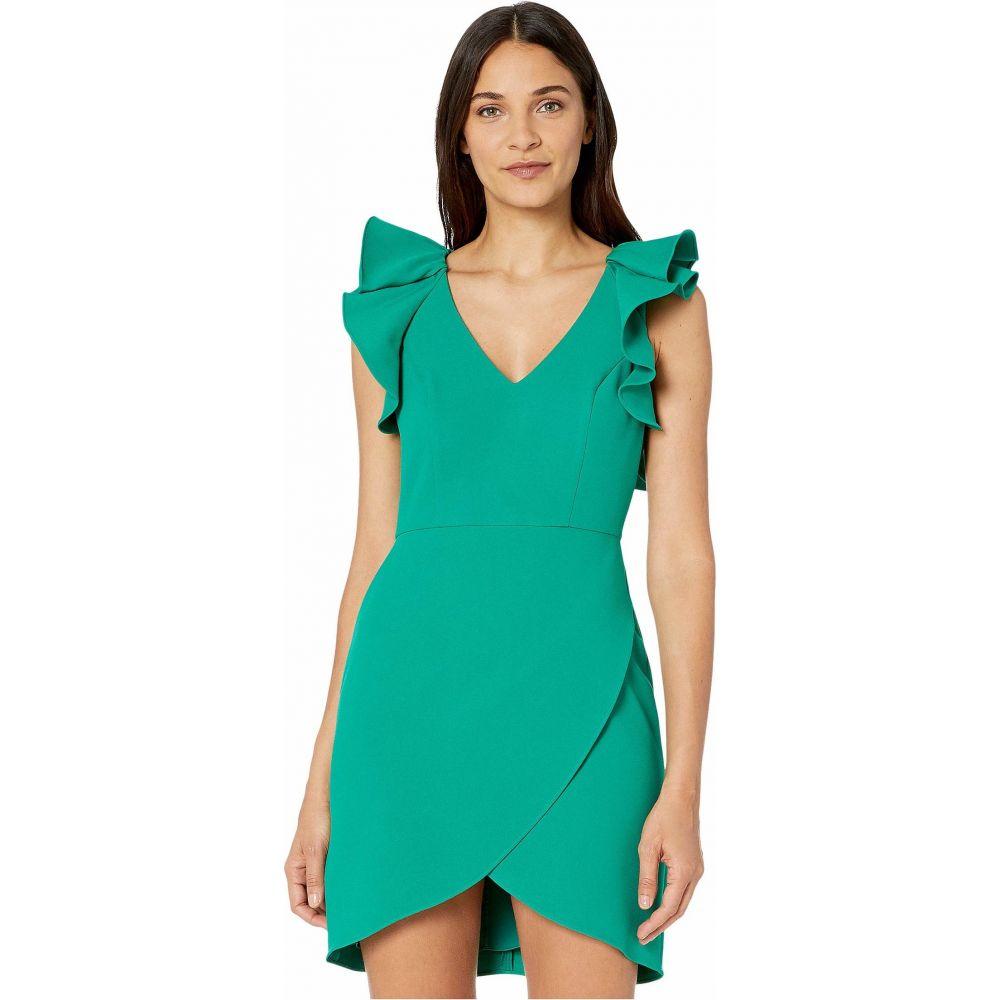 ビーシービージーマックスアズリア BCBGMAXAZRIA レディース パーティードレス カクテルドレス ワンピース・ドレス【Ruffle Shoulder Cocktail Dress】Ultra Green