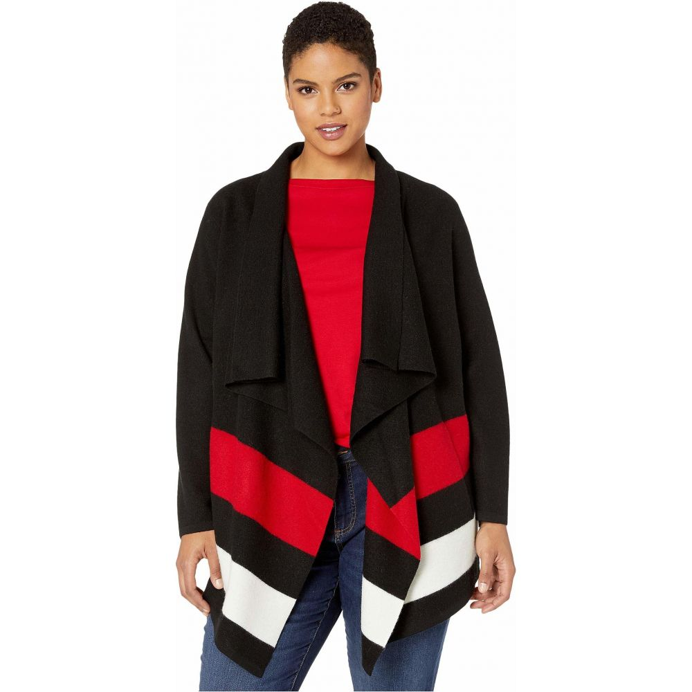 ラルフ ローレン LAUREN Ralph Lauren レディース ニット・セーター 大きいサイズ トップス【Plus Size Open-Front Wool Sweater】Polo Black/Lipstick Red/Mascarpone Cream