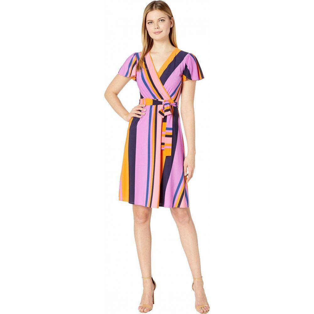ドナ モルガン Donna Morgan レディース ワンピース ラップドレス ワンピース・ドレス【Cap Sleeve Stripe Print Wrap Dress】Perry Navy Multi