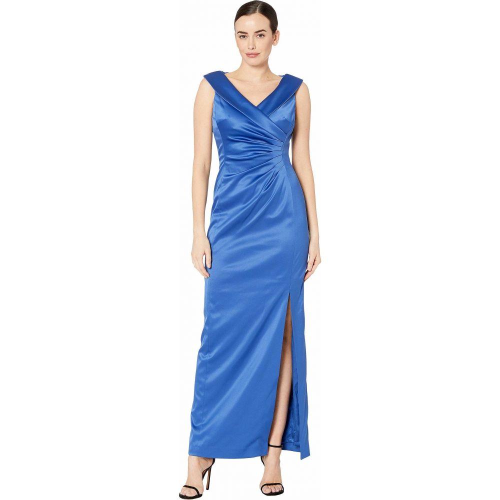タハリ Tahari by ASL レディース パーティードレス ワンピース・ドレス【Stretch Satin Side Draped Long Gown】Cerulean Blue