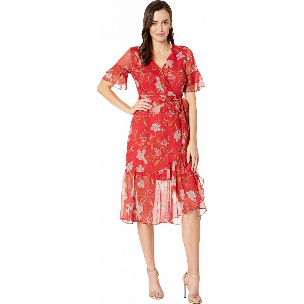 ヴィンス カムート Vince Camuto レディース ワンピース ラップドレス ティアードドレス ワンピース・ドレス【Tiered Ruffle Sleeve Wildflower Wrap Dress】Coral Sunset