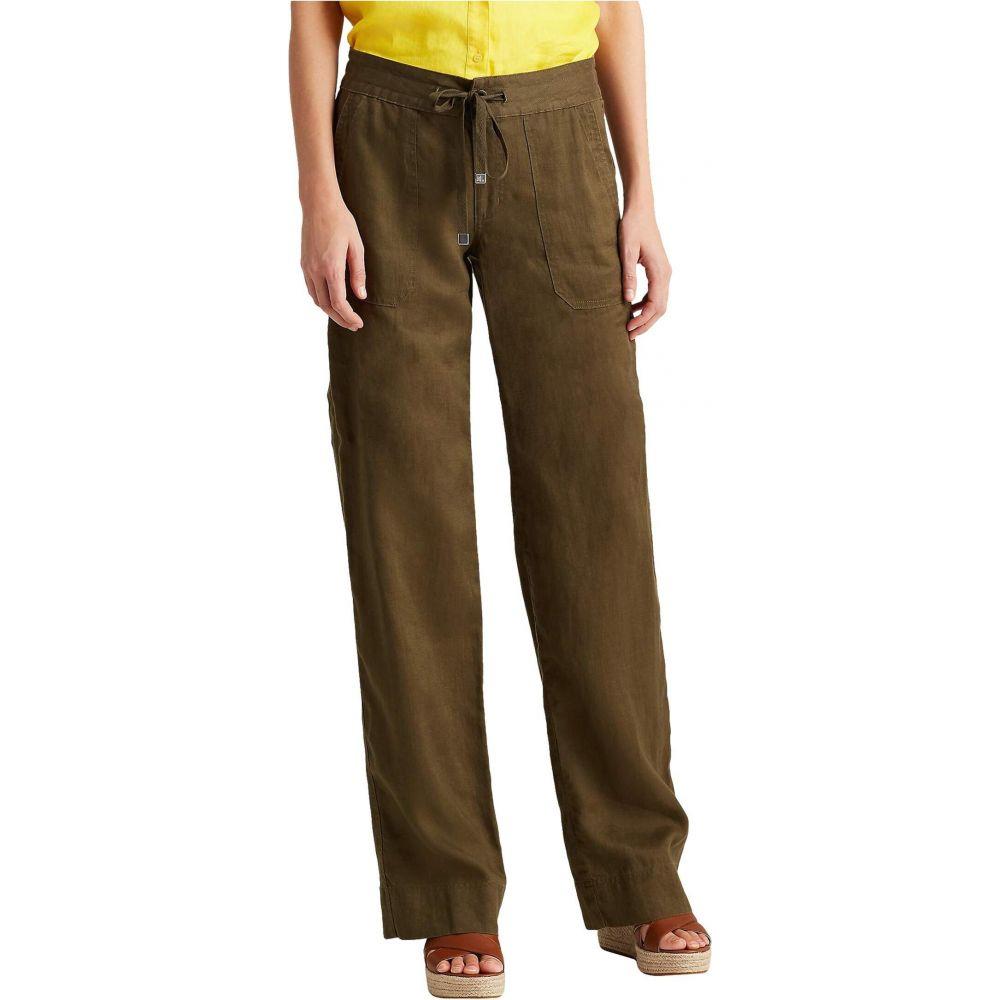 ラルフ ローレン LAUREN Ralph Lauren レディース ボトムス・パンツ 【Petite Linen Wide-Leg Pants】Dark Sage