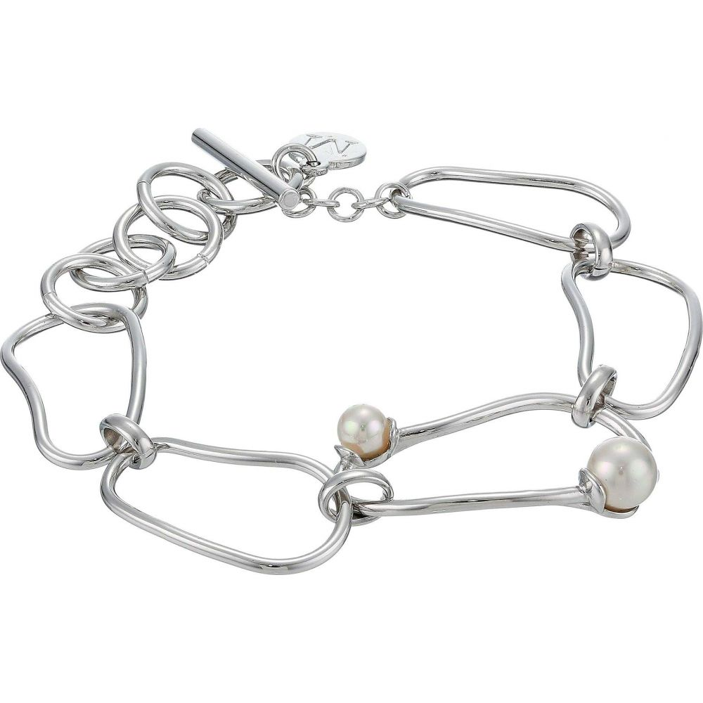 マジョリカ Majorica レディース ブレスレット ジュエリー・アクセサリー【5/7 mm 8' Long Chain Round Pearls Chained Bracelet in Stainless Steel】White