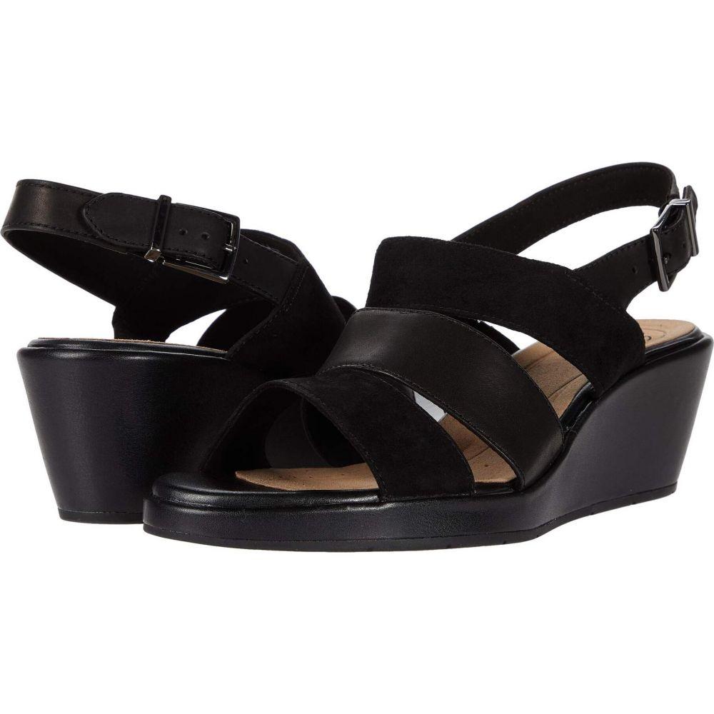 クラークス Clarks レディース サンダル・ミュール シューズ・靴【Un Plaza Go】Black Suede/Leather Combi