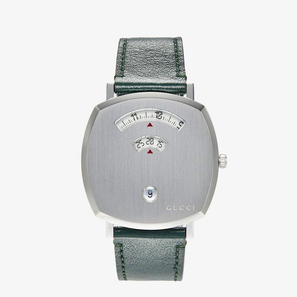 グッチ Gucci レディース 腕時計 【Grip】Silver Dial/Green Leather Strap