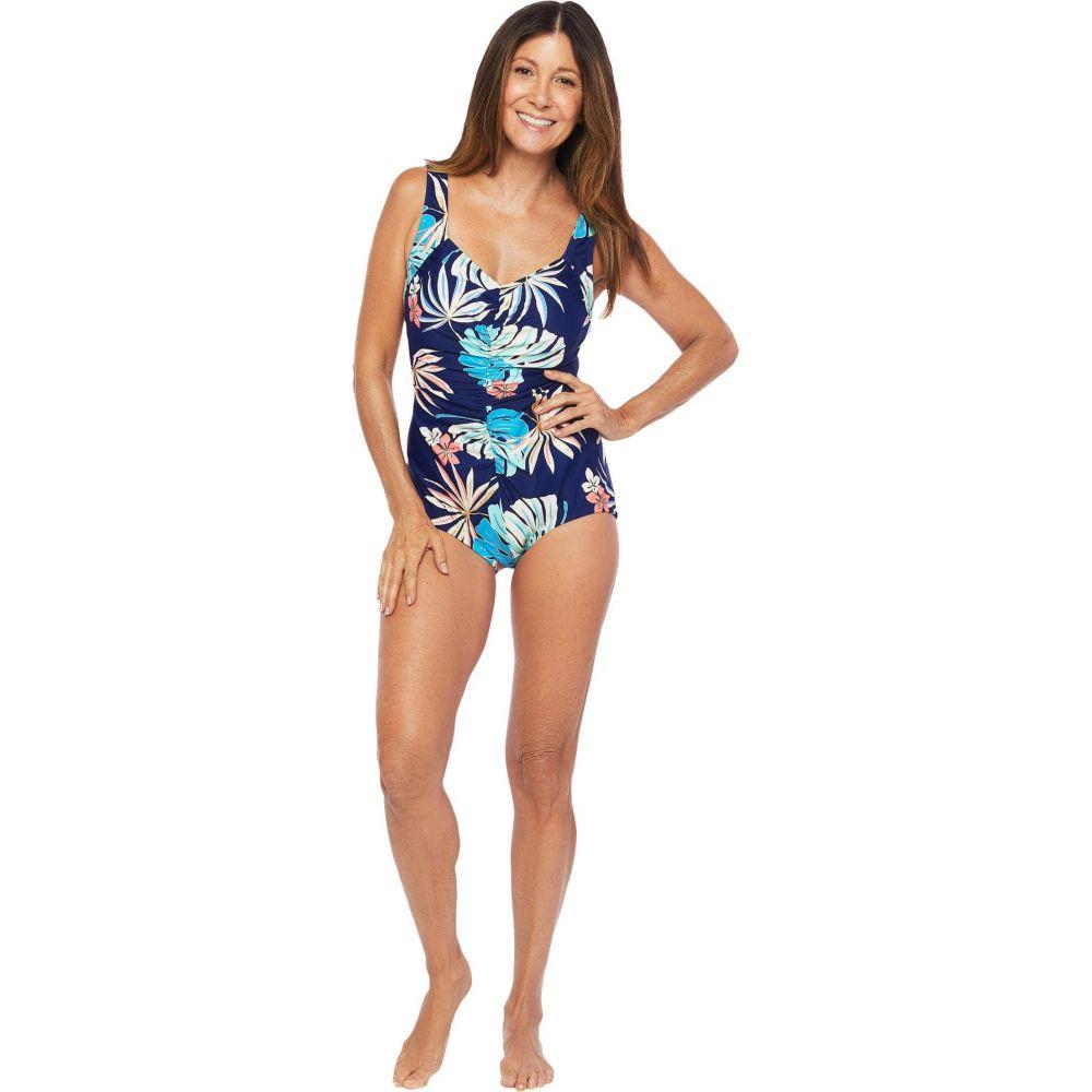 マキシン オブ ハリウッド Maxine of Hollywood Swimwear レディース ワンピース 水着・ビーチウェア【Hula Leaf Shirred Front Girl Leg One-Piece】Navy