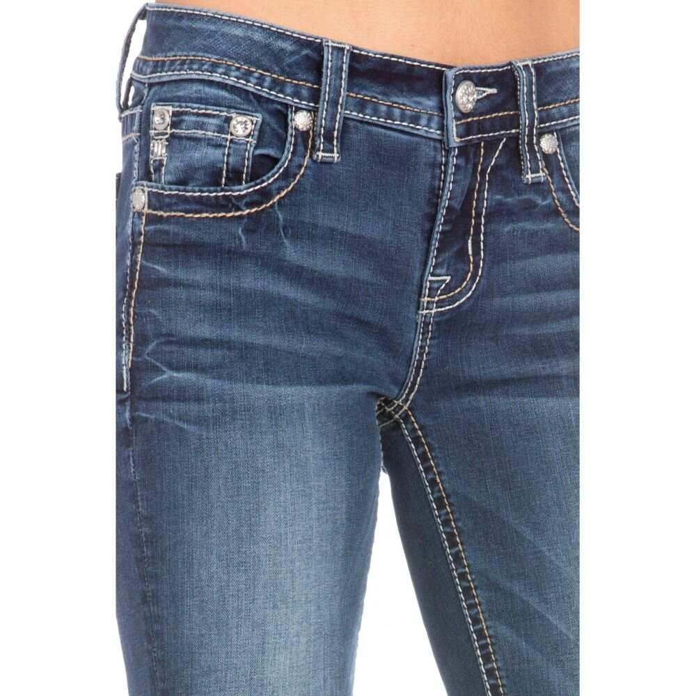 ミス ミー Miss Me レディース ジーンズ・デニム ブーツカット ボトムス・パンツ【Horseshoe Floral Cactus Bootcut Jeans in Dark Blue】Dark Blue