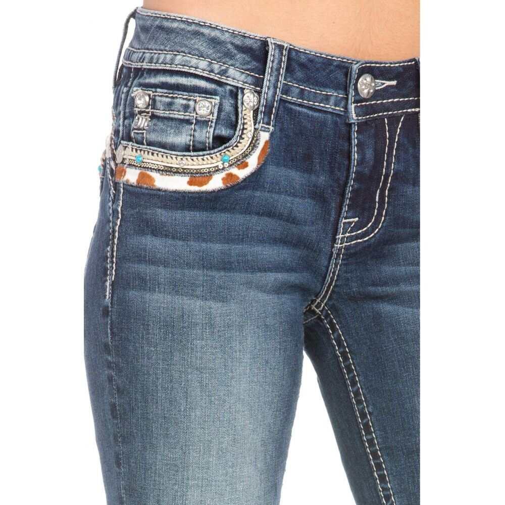 ミス ミー Miss Me レディース ジーンズ・デニム ブーツカット ボトムス・パンツ【Cow Hide Flap Yoke Trim Bootcut Jeans in Dark Blue】Dark Blue