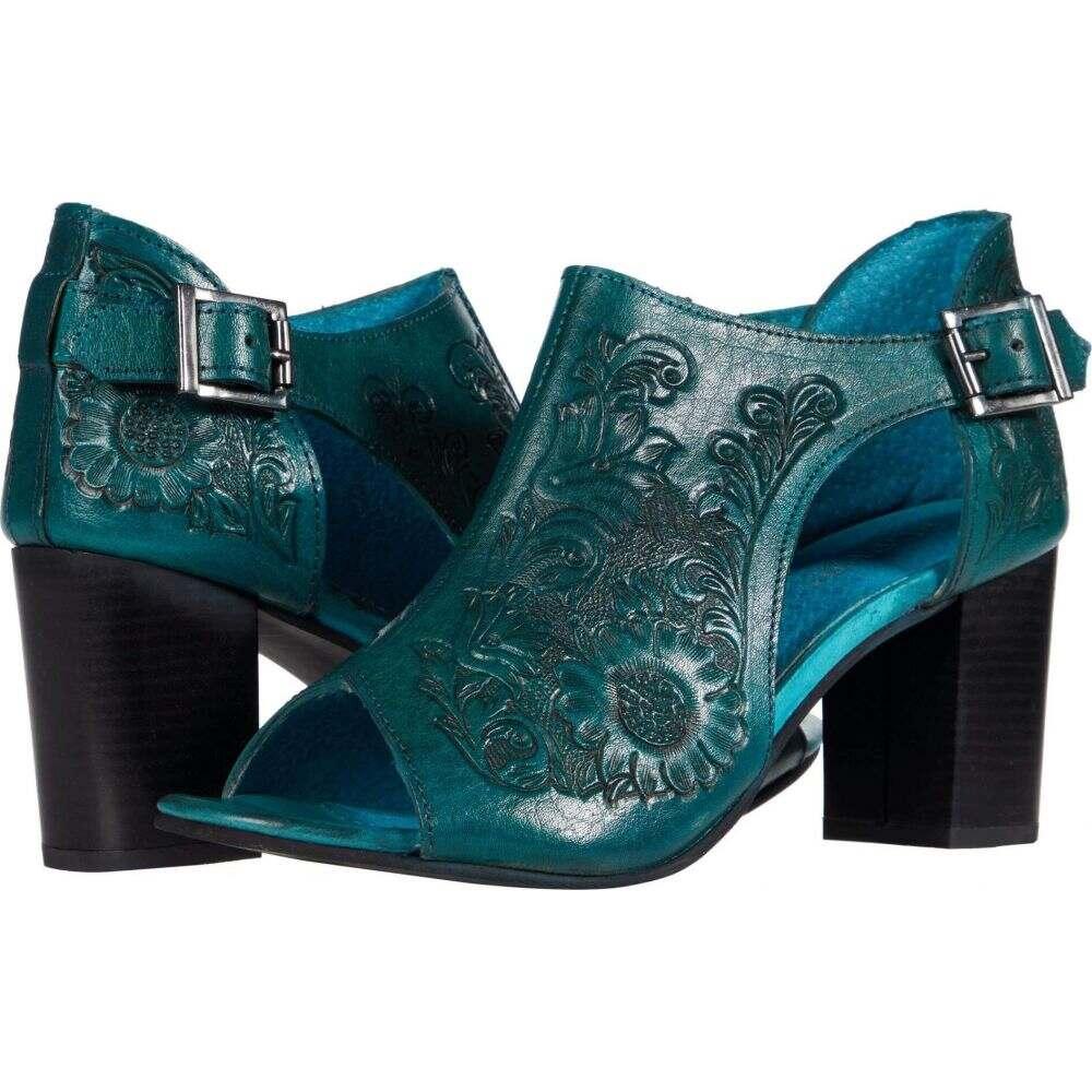 ローパー Roper レディース サンダル・ミュール シューズ・靴【Mika Closed Back】Turquoise Floral Tooled Leather