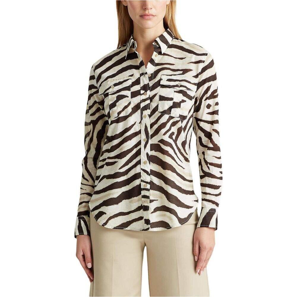 ラルフ ローレン LAUREN Ralph Lauren レディース ブラウス・シャツ トップス【Print Cotton Shirt】Dark Brown/Multi