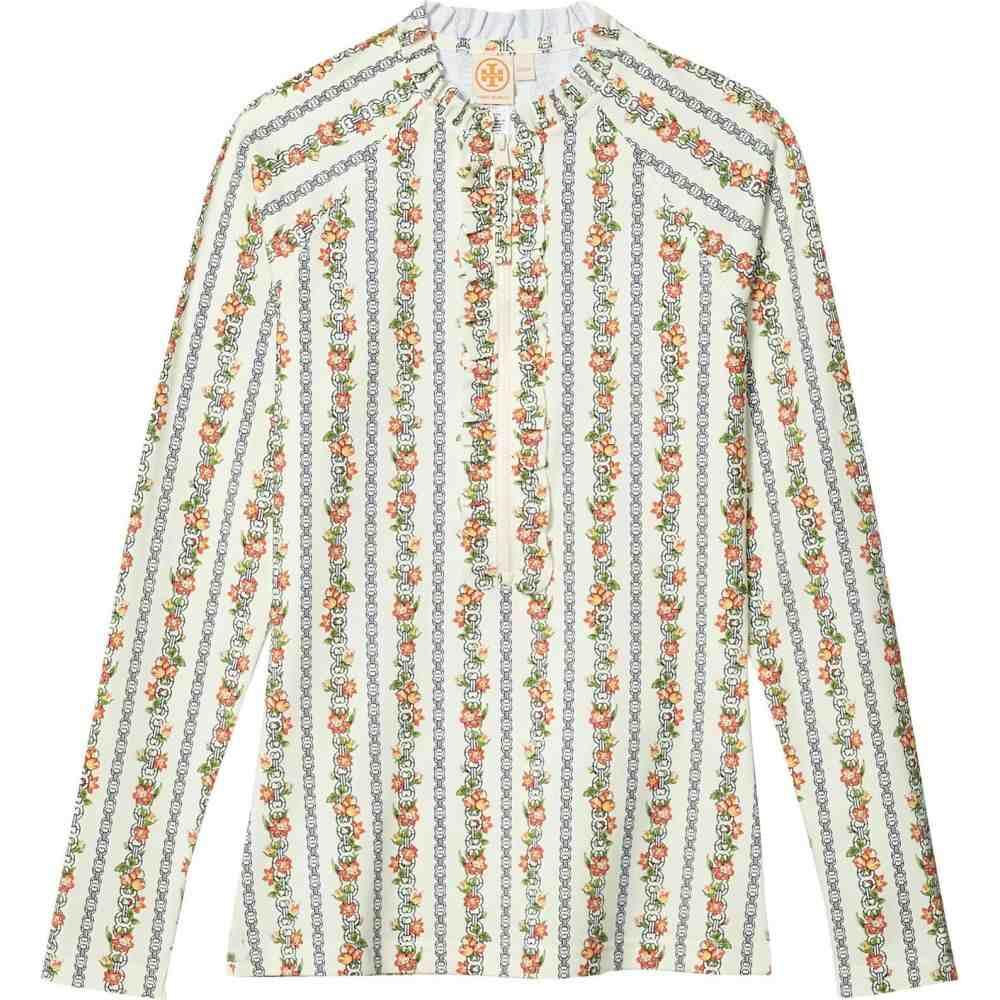トリー バーチ Tory Burch Swimwear レディース ラッシュガード トップス 水着・ビーチウェア【Printed Ruffle Surf Shirt】Gemini Link Rose