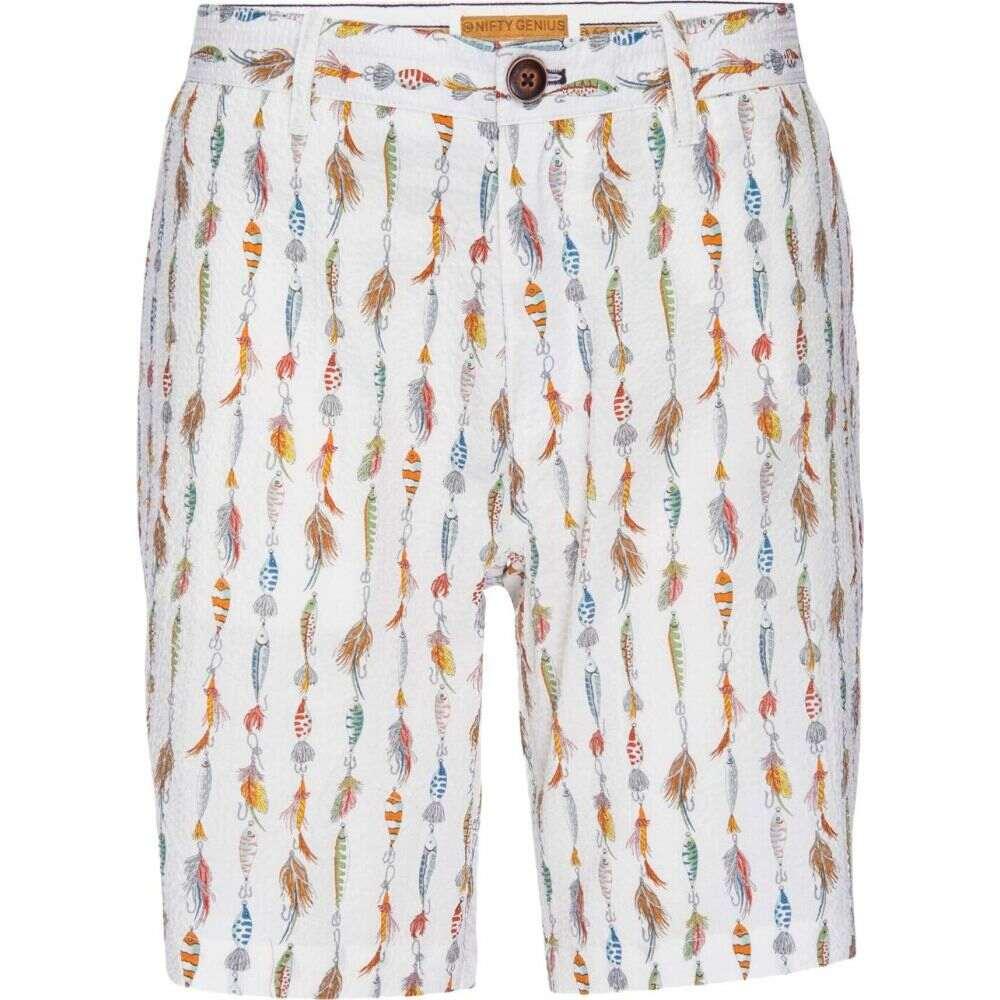 ニフティジーニアス Nifty Genius メンズ ショートパンツ バミューダ ボトムス・パンツ【Morgan Bermuda Stretch Seersucker Fishing Lure Shorts】White