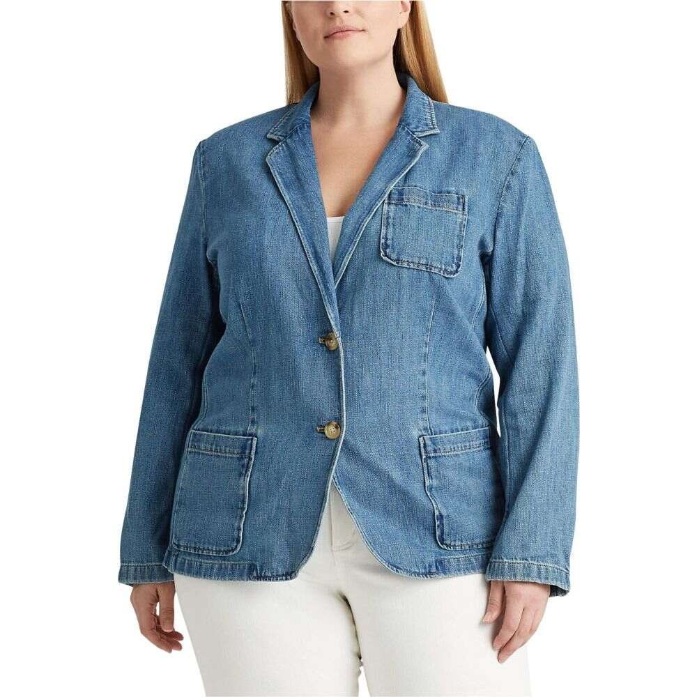 ラルフ ローレン LAUREN Ralph Lauren レディース スーツ・ジャケット 大きいサイズ アウター【Plus Size Cotton Denim Blazer】Light Authentic Wash