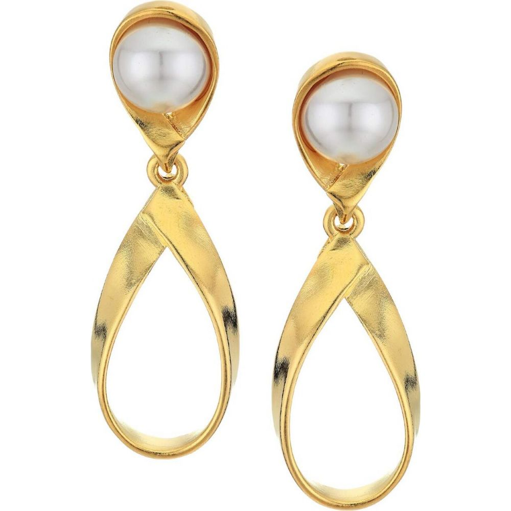 ケネスジェイレーン Kenneth Jay Lane レディース イヤリング・ピアス ジュエリー・アクセサリー【2.5' Gold Swirl with Pearl Top Post Earrings】Gold/Pearl