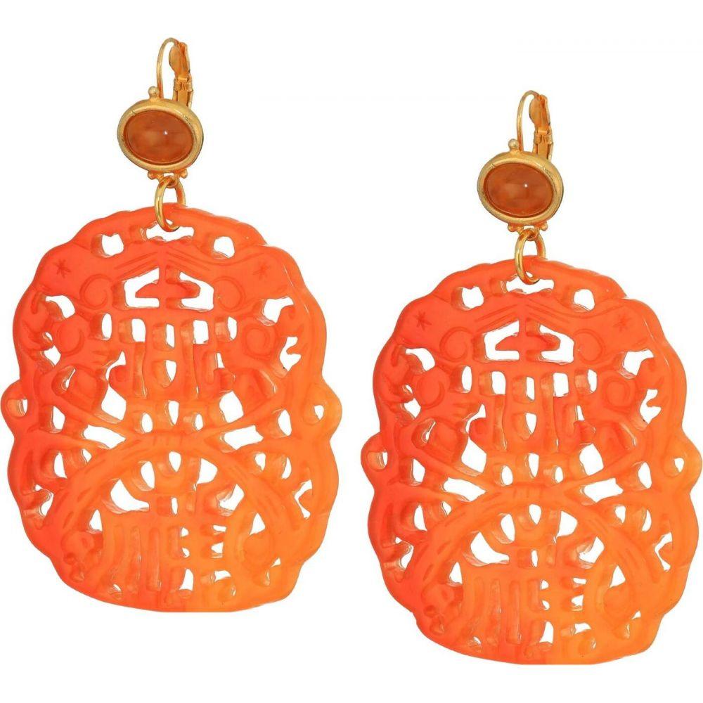 ケネスジェイレーン Kenneth Jay Lane レディース イヤリング・ピアス ジュエリー・アクセサリー【Carved Top Gold Wire Earrings】Amber/Amber