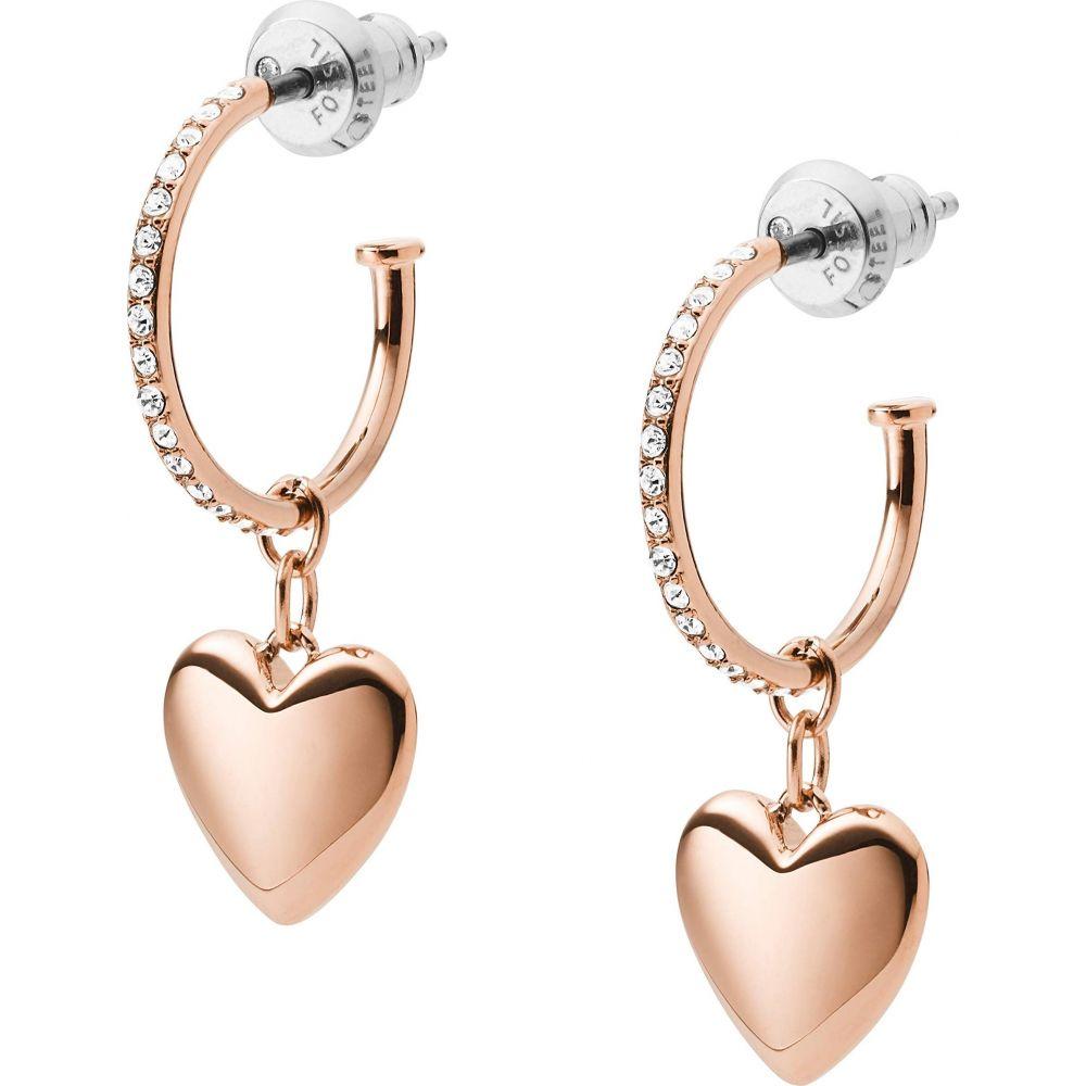 フォッシル Fossil レディース イヤリング・ピアス ジュエリー・アクセサリー【Hearts To You Rose Gold Tone Stainless Steel Hoop Earrings】Rose Gold Tone