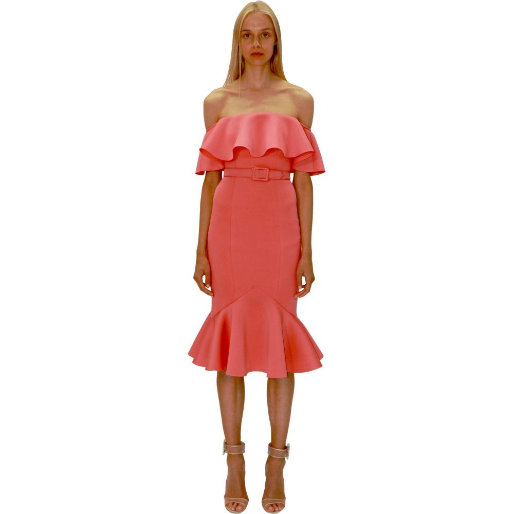 バッジェリー ミシュカ Badgley Mischka レディース ワンピース ワンピース・ドレス【Off-the-Shoulder Fitted Scuba Dress with Flare Hem】Paprika