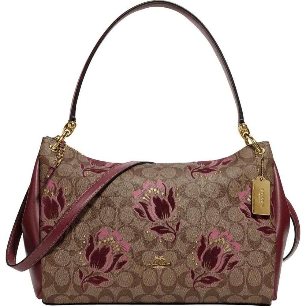 コーチ COACH レディース ショルダーバッグ バッグ【Signature Desert Tulip Flocking Print Mia Shoulder Bag】Khaki/Pink Multi