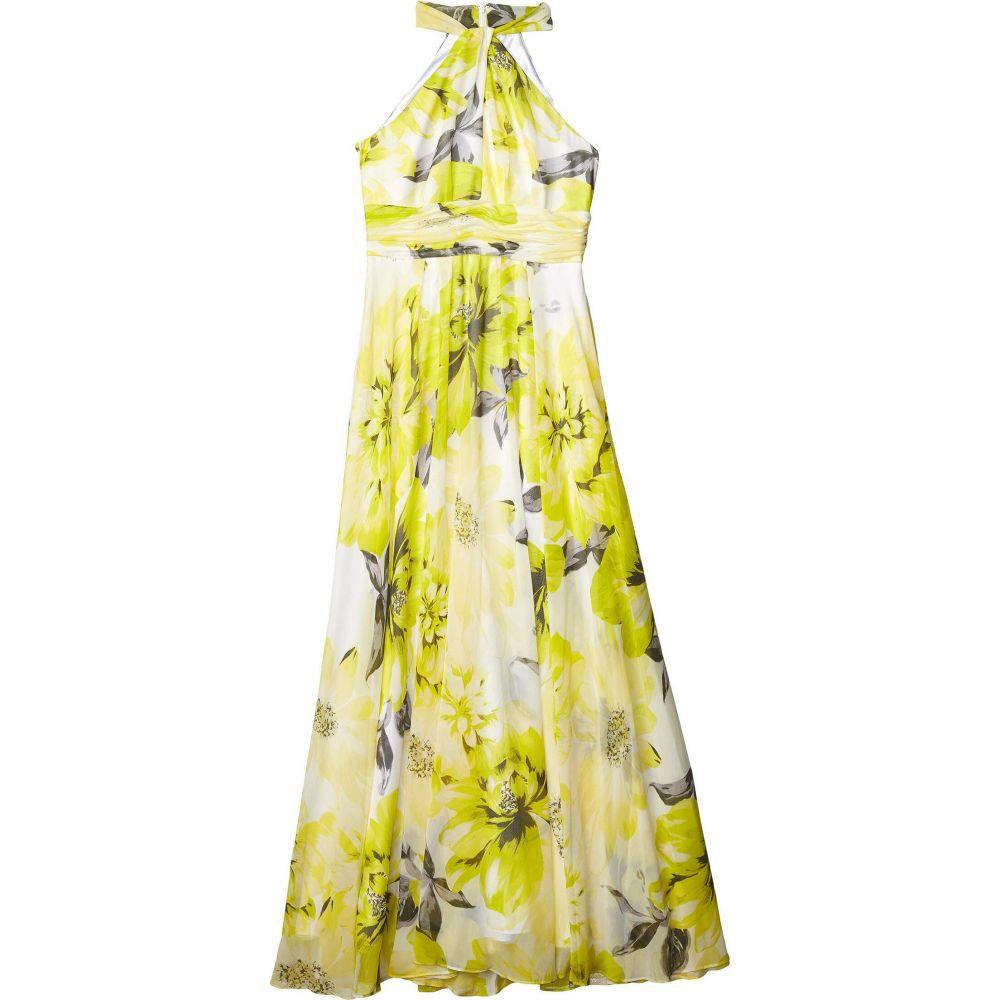 カルバンクライン Calvin Klein レディース パーティードレス ワンピース・ドレス【Floral Knot Neck Gown with Keyhole】Pear Multi
