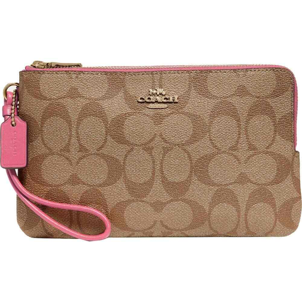 コーチ COACH レディース 財布 【Signature PVC Double Zip Wallet】Khaki/Pink Ruby