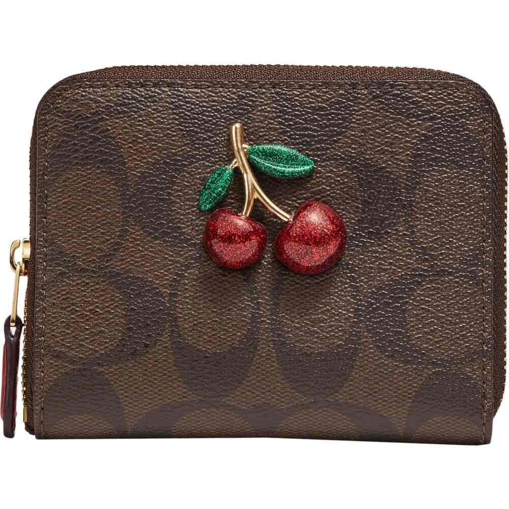 コーチ COACH レディース 財布 【Signature Small Zip Around Wallet w/ Resin Fruit】Brown/Black/True Red