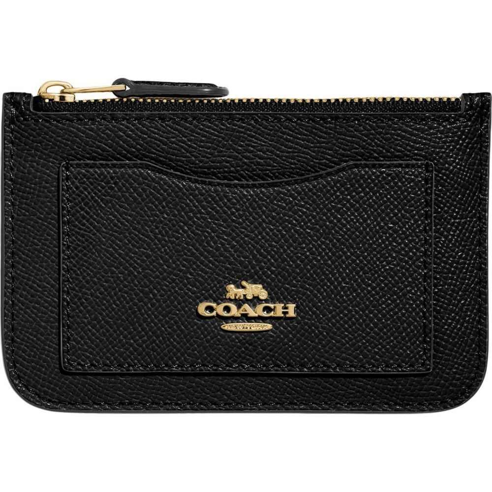 コーチ COACH レディース カードケース・名刺入れ 【Cross Grain Leather Zip Top Card Case】Black