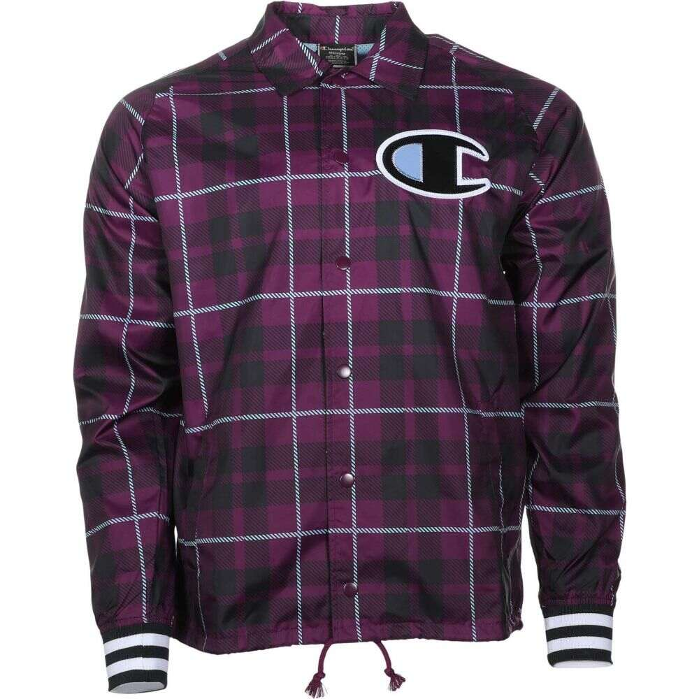 チャンピオン Champion メンズ ジャケット コーチジャケット アウター【Satin Coaches Jacket Ribbed Cuff AOP】Plaid Venetian Purple