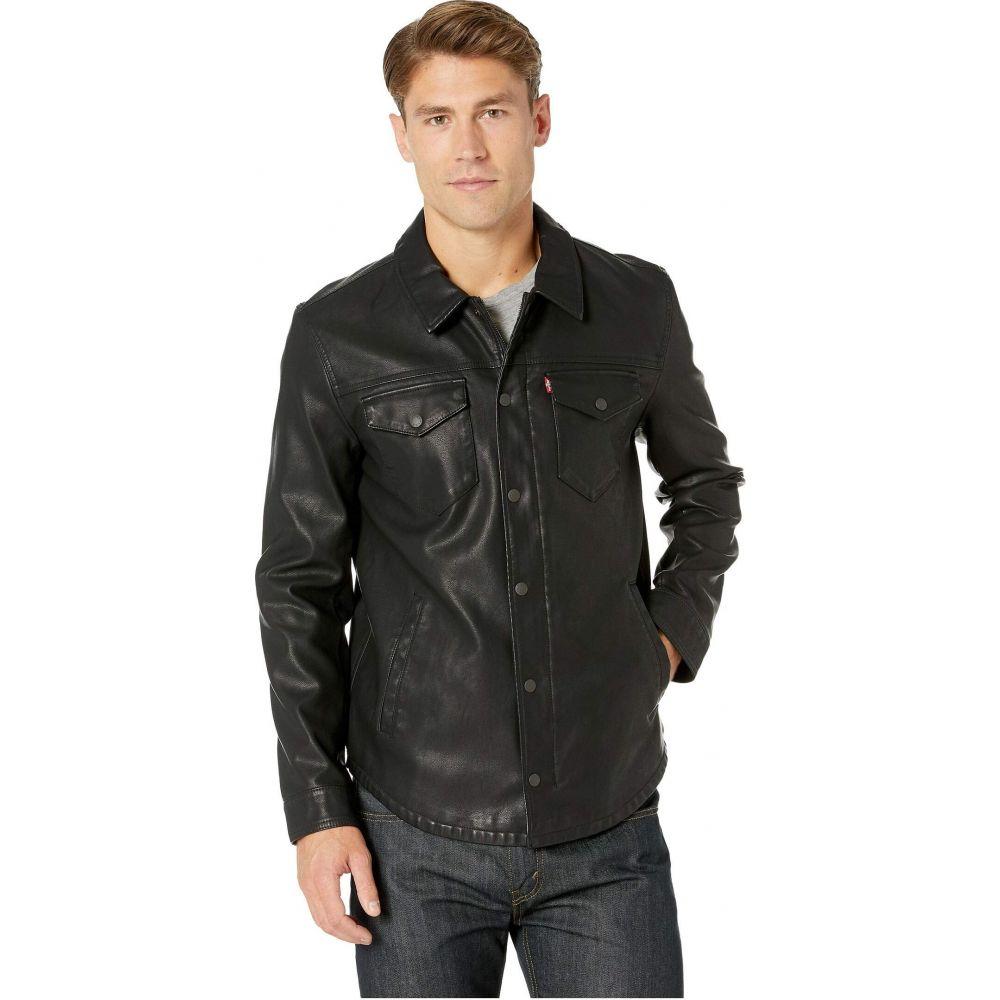 リーバイス Levi's メンズ レザージャケット シャツジャケット アウター【Faux Leather Shirt Jacket】Black