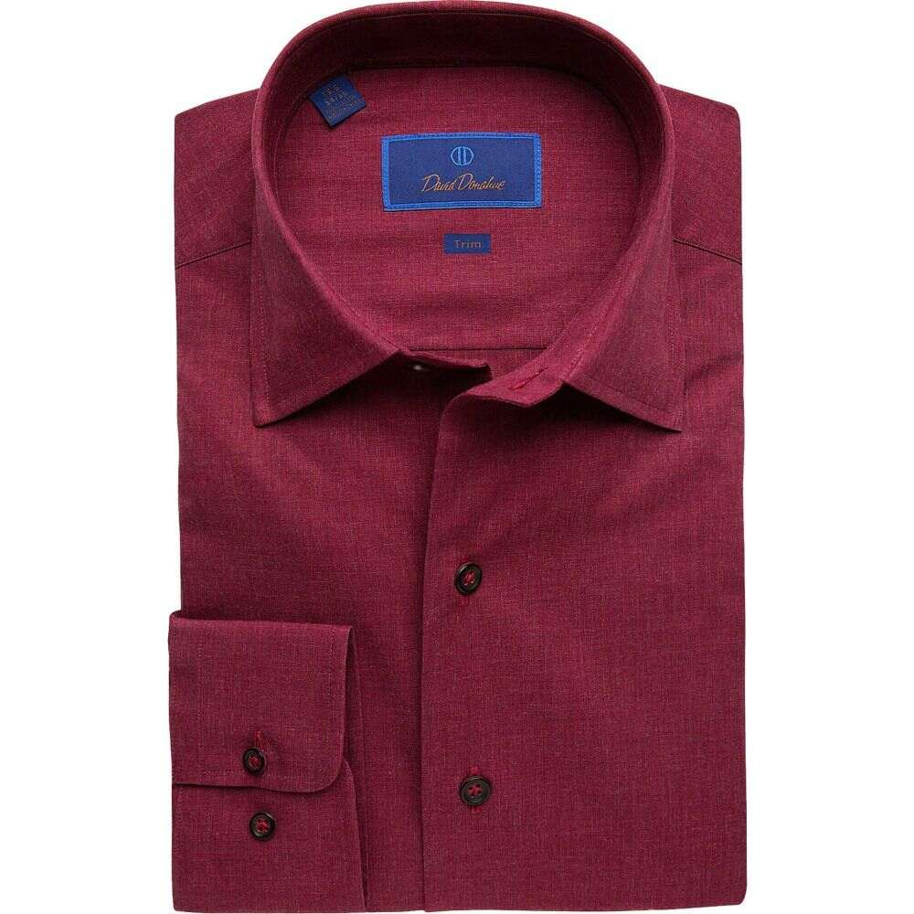デビッドドナヒュー David Donahue メンズ シャツ トップス【Trim Fit Long Sleeve Melange Fusion Dress Shirt】Merlot