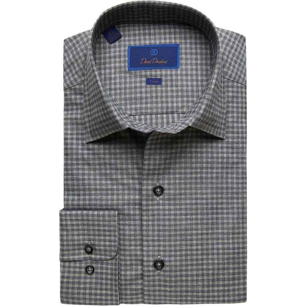 デビッドドナヒュー David Donahue メンズ シャツ トップス【Trim Fit Long Sleeve Melange Fusion Dress Shirt】Charcoal