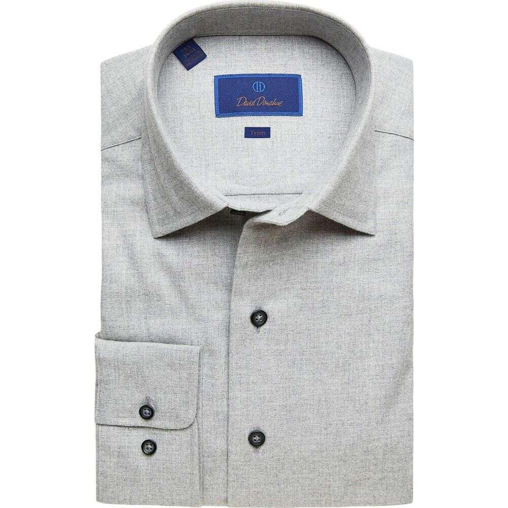デビッドドナヒュー David Donahue メンズ シャツ トップス【Trim Fit Long Sleeve Brushed Melange Fusion Shirt】Gray