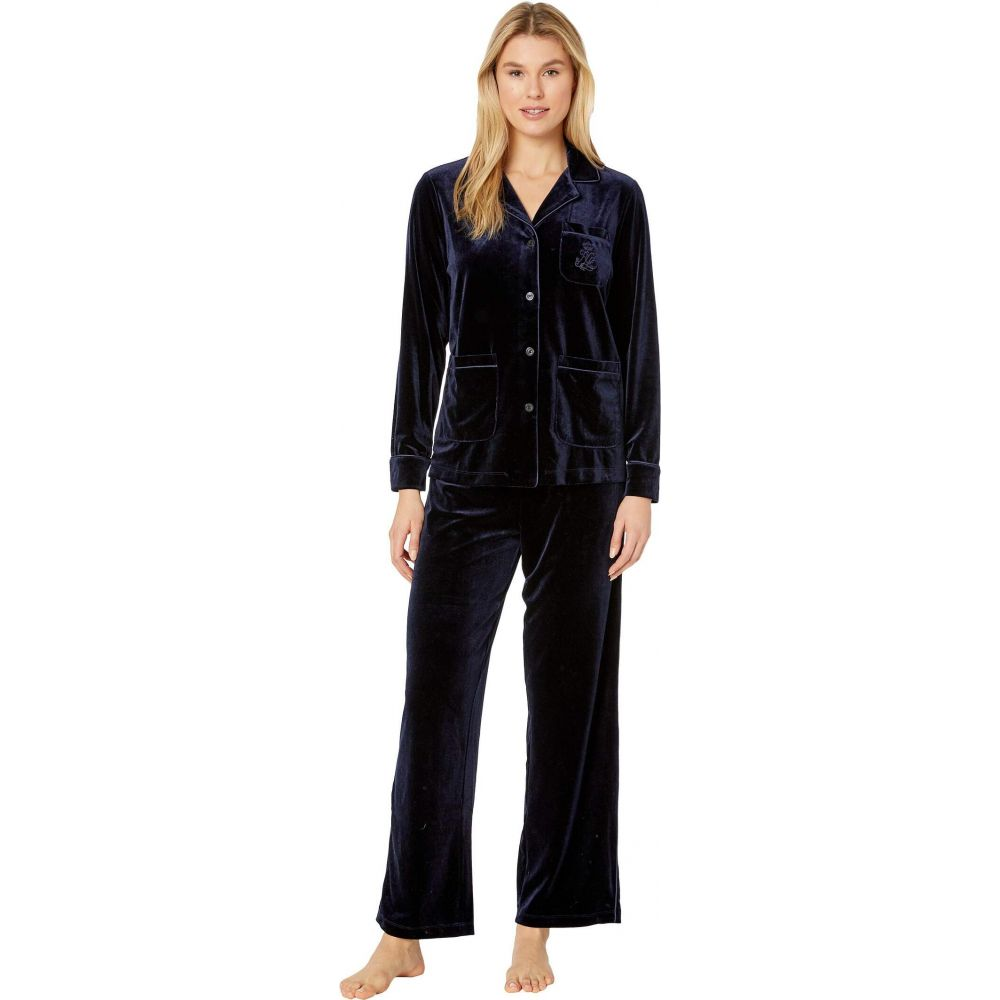 ラルフ ローレン LAUREN Ralph Lauren レディース パジャマ・上下セット インナー・下着【Velvet Long Sleeve Notch Collar Three-Pocket Long Pants Pajama Set】Navy